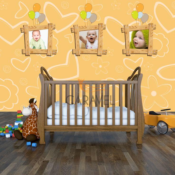 Παιδική Ταπετσαρία τοίχου με τυπωμένες ξύλινες κορνίζες