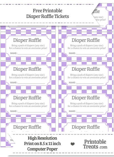 Free Pastel Purple Checker Pattern Diaper Raffle Tickets