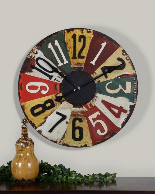 Wall clock made out of license plates.......D.