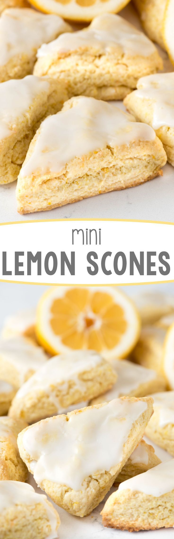 Mini Lemon Scones - this easy recipe stays soft for days! They're pillowy soft and FULL of lemon flavor, in the scone and in the glaze.