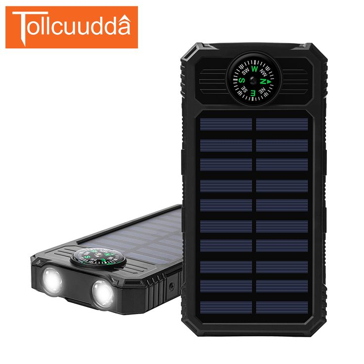 Tollcuudda 8000mAh Powerbank with Flashlight Compass Solar Poverbank Easy Carry Mobile Charger Universal for Smartphone  #Affiliate