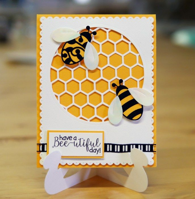 It's a bee-utiful day on the blog with Jacky Hernandez! Find Jacky's post here: http://wp.me/p4kQzc-4xE. Jacky crafted her card with Els van de Burgt Studio's Fitted Circle, Dotted Scallop Rectangles, and Ribbons 1. Jacky polishes off the card with Joset Designs' Bee, Honeycomb, and Bee Sentiments. The textures are absolutely stunning with the help of our Soft Finish Cardstock in White and Sunflower, and a Black Velvet Adhesive Sheet.