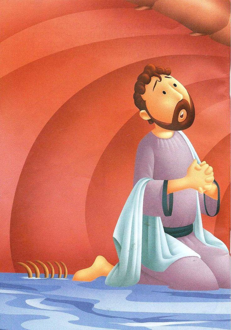 Jonas dentro da barriga do peixe orando a Deus!