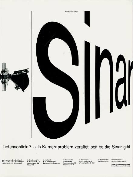 """Sinar"" camera advertisement by Karl Gerstner and Markus Kutter - 1960"