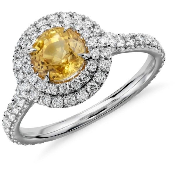 Blue Nile Yellow Sapphire and Diamond Double Halo Pavé Ring in 18k White Gold (1.29 cts) ($5,500) found on Polyvore