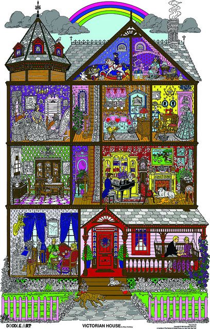 victorian house coloring pages | Doodle Art Victorian House Coloring Page Poster | Flickr - Photo ...