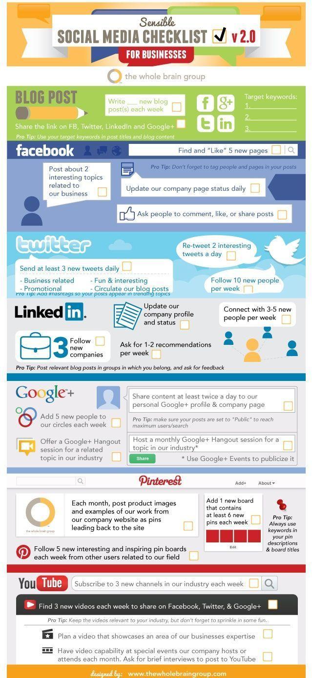 #SocialMedia Checklist: semplici consigli per muoversi sui social network #infografica