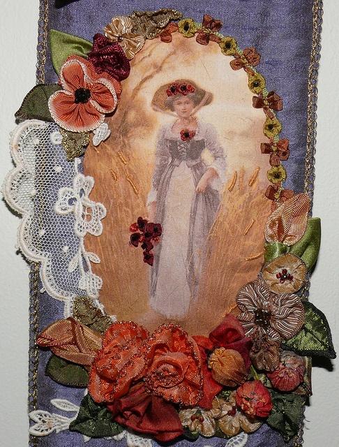 ribbon work and silk print by Linda Murdoch