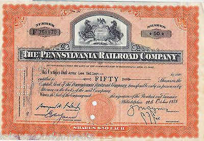 PENNSYLVANIA RAILROAD COMPANY VINTAGE 1955 GRAPHIC ENGRAVING STOCK CERTIFICATE