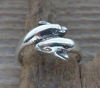 teenring dolfijn zilver A08 - http://www.toas.nl/teenringen