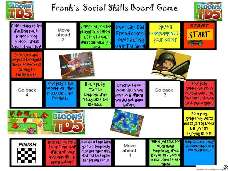 You can download a simple board game template from my site and quite easily create your own social skills board game. At autismteachingstrategies.com, Free Downloads. This was pinned by pinterest.com/joelshaul/ .  Follow all our boards.