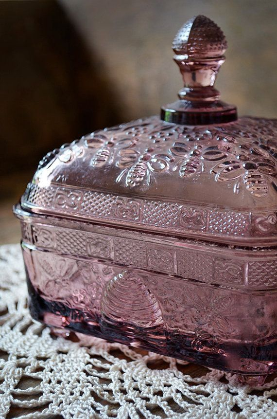 Vintage Tiara Glass Candy Dish  Amethyst Glass by TimberAndTwine, $30.00