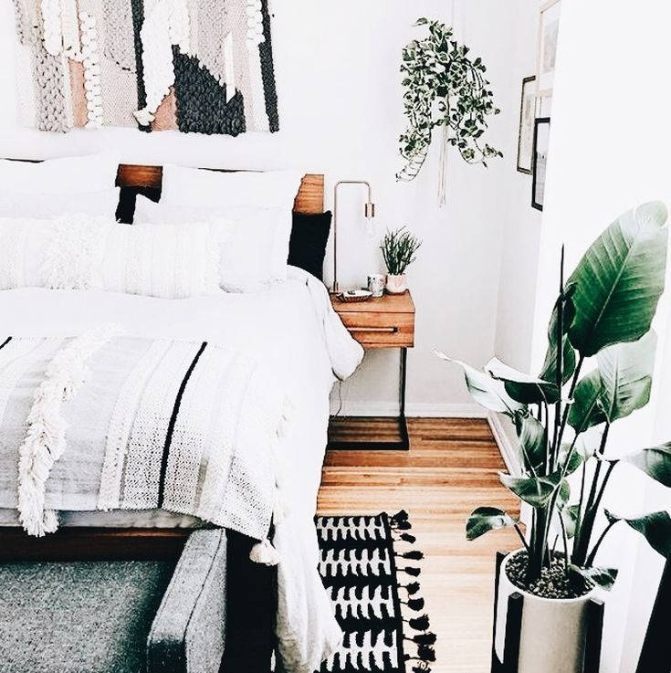 chic bedroom white walls wood floor decor plant on floor and decor id=50913