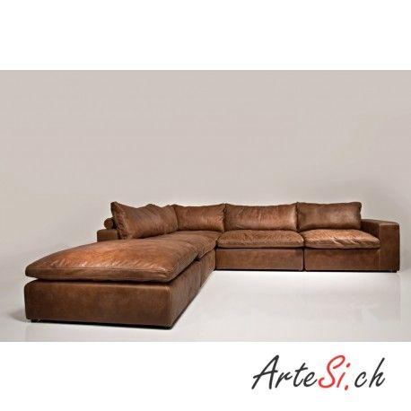 LIONEL DELUX Designer Leder Sofa