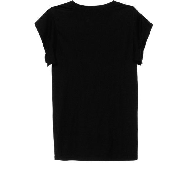 Isabel Marant Tee-Chic Felipe Tee Shirt In Black found on Polyvore featuring tops, t-shirts, short sleeve tops, black kimono top, black kimono, short sleeve tee and black top