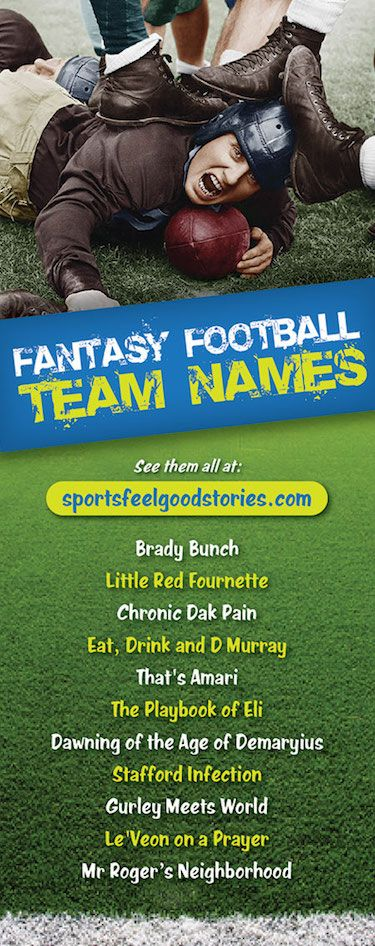 Funny fantasy football team names.   Your favorite players - Tom Brady, Aaron Rodgers, Antonio Brown, Julio Jones, Cam Newton, Andrew Luck, and more - and your favorite teams - Green Bay Packers, Pittsburgh Steelers, Dallas Cowboys, Minnesota Vikings, New England Patriots, New York Giants, and more - provide fodder for many a great team name idea. Check 'em out. Also, league name ideas.  Good, clever, funny, and the best fantasy names.