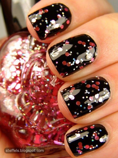 Pink glitter over black.