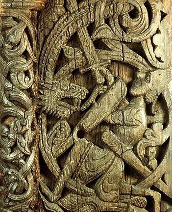 Carved doorposts of the medieval stave church at Hylestad, Setesdal, Norway. Sigurd the Volsung killing the dragon Fafnir. The Sigurd Portal