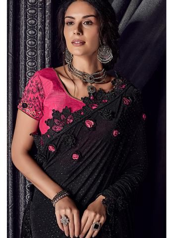 cb30e90d2a069 Black and Hot Pink Embroidered Saree - Lashkaraa