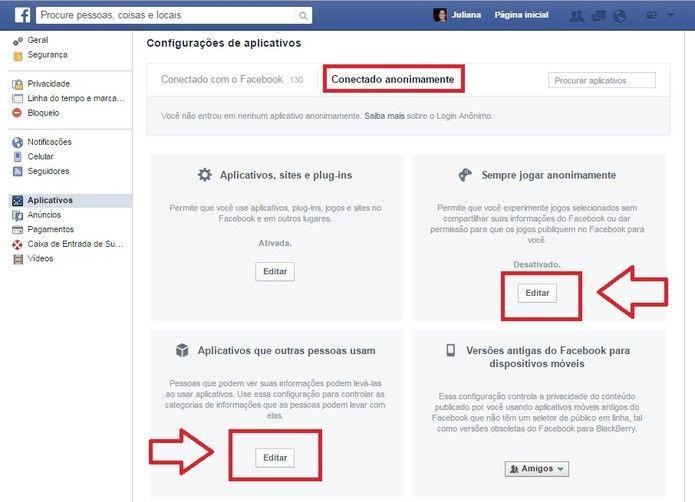 Clique em aplicativos que outras pessoas usam para ver quais são suas informações fornecidas (Foto: Reprodução/Juliana Pixinine)