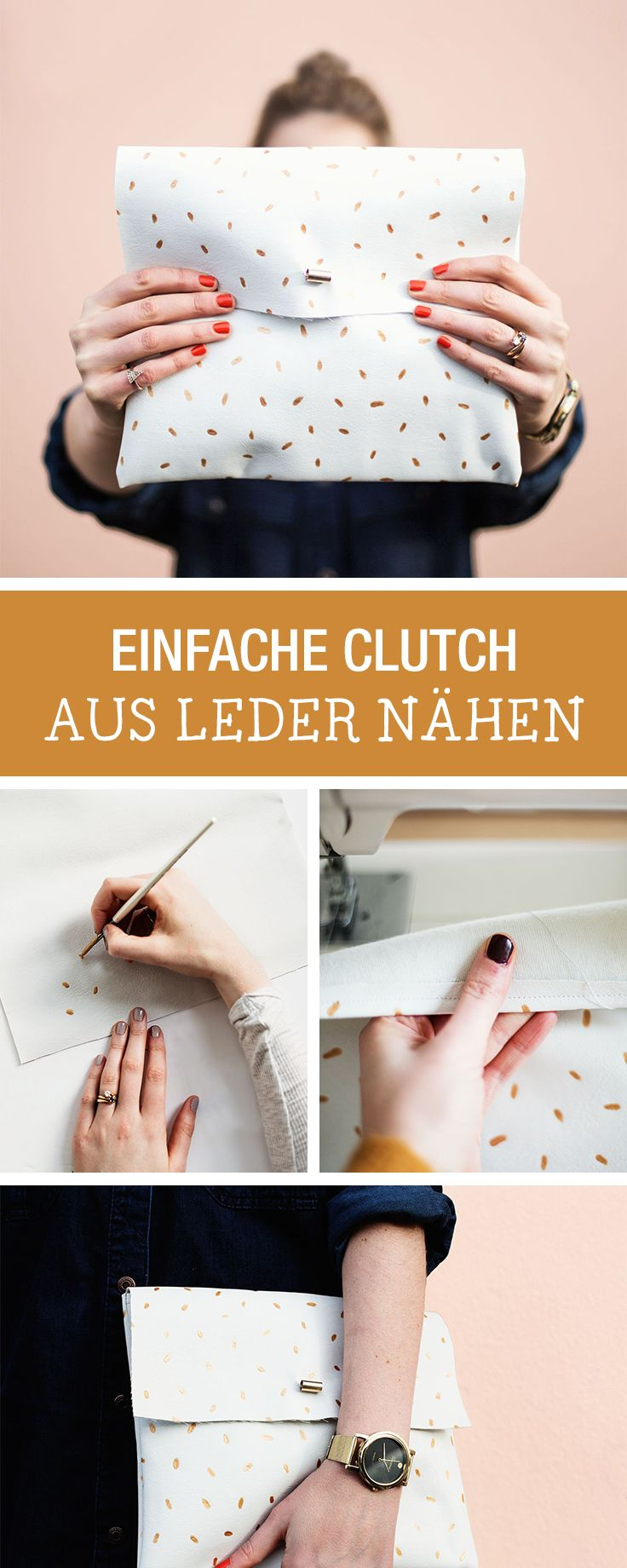 Kostenlose Nähanleitung für eine Clutch aus Leder, einfache Nähanleitung / easy sewing tutorial for a leather clutch via DaWanda.com