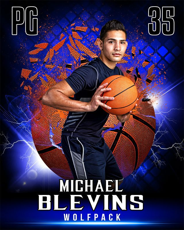 Sports Poster Photo Template For Basketball - Shattered Basketball