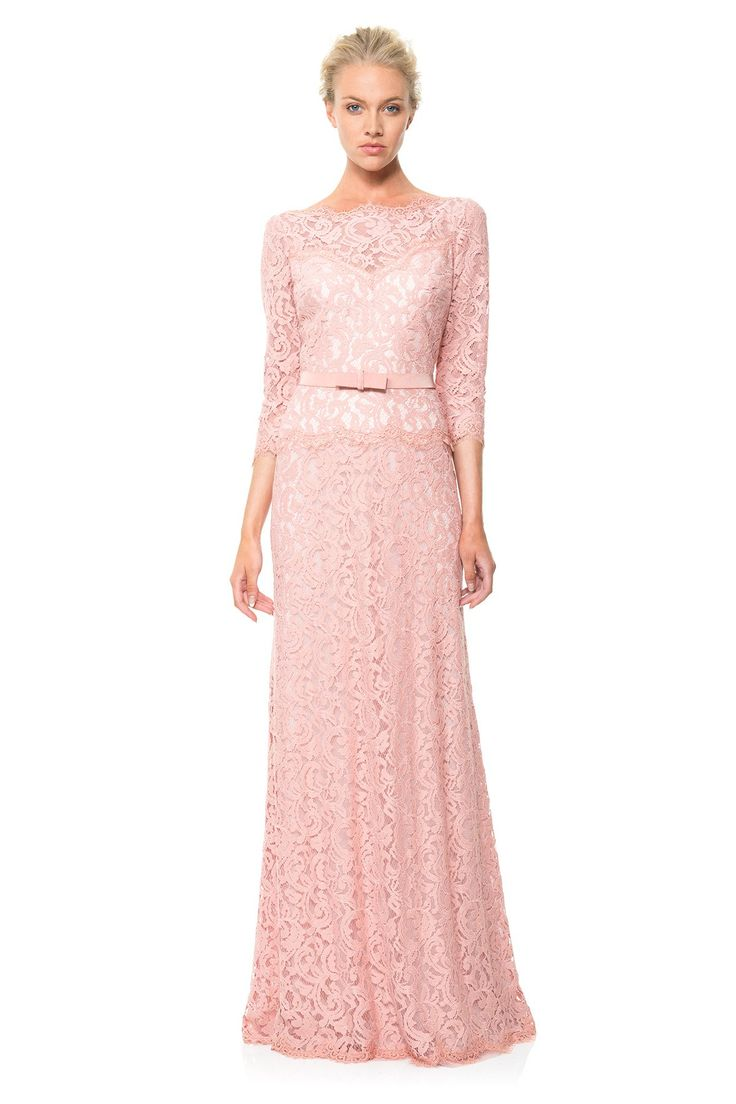 Lace Boatneck ¾ Sleeve Gown with Grosgrain Ribbon Belt   Tadashi Shoji