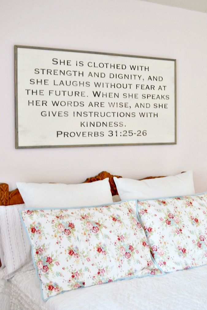 Choosing a Bible verse and having it made into a custom  typography sign is a great way to personalize a room!