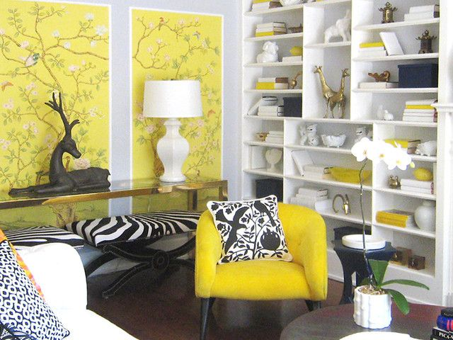 Art, Cool Modern Living Room With Yellow Chair Zebra Patern Chair Huge Book  Shelf With Part 92