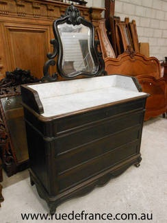 ANTIQUE FRENCH MARBLE TOP DRESSING CHEST -CHEST OF DRAWERS