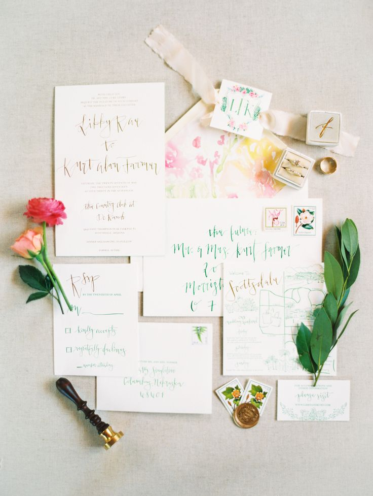 whimsical colorful calligraphy stationery invitations | Photography: Rachel Solomon