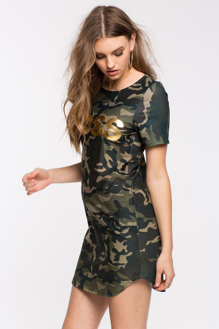 Камуфляжное платье Размеры: S, L Цвет: зеленый с принтом Цена: 1557 руб.     #одежда #женщинам #платья #коопт