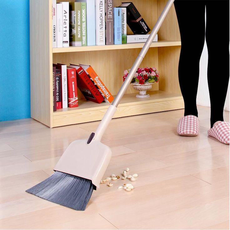 138cm Long Broom with Dust Pan Cleaning Tools Household, Adjustable Pet Broom Head, Extensible Handle, zigzag design Dustpan
