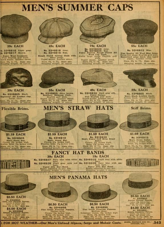 Sears catalogue 1912. Mens Summer Hats ***Grumio (paperboy ones), Petruchio (straw flat brimmed)***