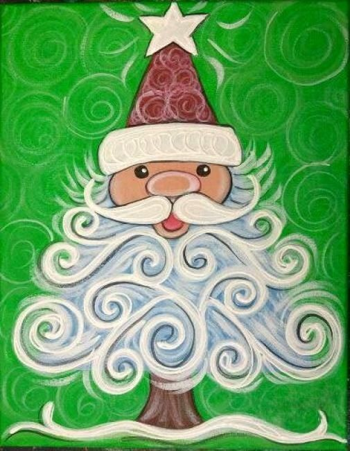 Cute Santa canvas paint idea for wall decor. Christmas. Santa Claus. Red, white and green. Christmas tree. Star. Canvas painting.