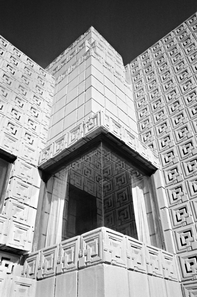 Charles Ennis House. Frank Lloyd Wright. Los Feliz neighborhood of Los Angeles, CA., 1924. Textile Block Style.