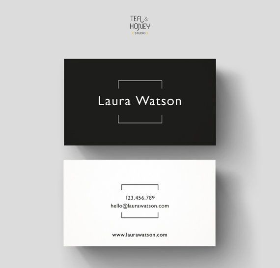 Minimalistic Business Card Design Premade Black and White Calling Card Simple Creative Name Card Photography Frame Small Business Stationery