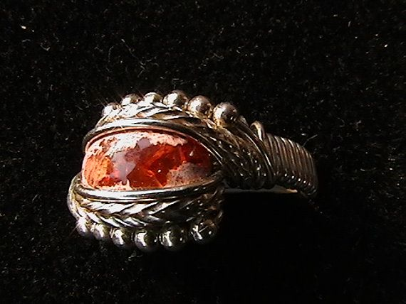 Mexican Fire Opal ring wire wrapped in sterling by mattewing, $55.00