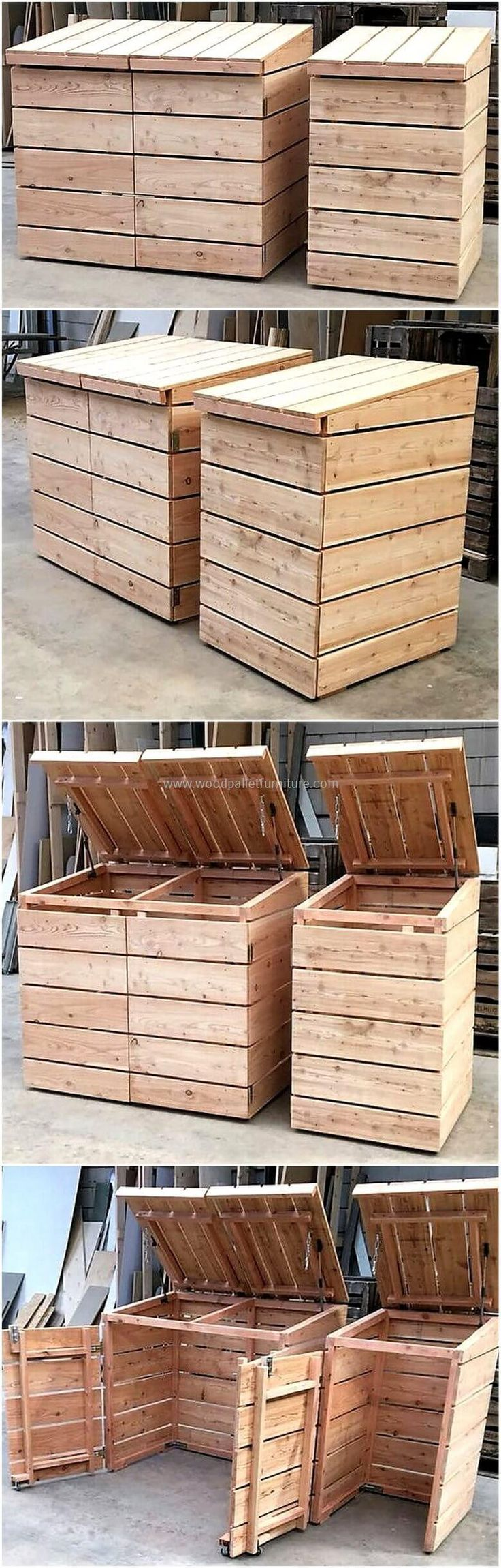 These wood pallets dumpsters are created with recycled wood pallets. This creation is so amazing in appearance that seems eye-catching for the first sight. This useless wood pallets project is so wonderful storage plan that it is not only good to fulfill home storage needs but also best to use in shopping stores to meet storage requirements.