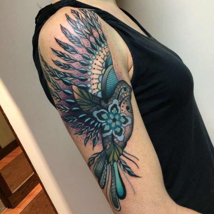 Lace bird. Tattoos by Noelle LaMonica-Divine Machine Tattoo-Buffalo NY