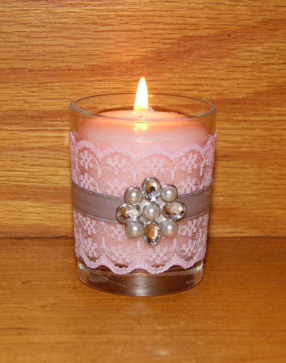 Gray and Pink Wedding Decor / Wedding by CarolesWeddingWhimsy, This set of (6) Pink and Gray Wedding Votive Candle Holders with a Rhinestone Brooch is perfect for any Spring Wedding or Summer Wedding.  The pink lace and rhinestone brooch make this fabulous!  You can find them here https://www.etsy.com/listing/274550160/gray-and-pink-wedding-decor-wedding https://www.etsy.com/shop/CarolesWeddingWhimsy https://www.facebook.com/CarolesWeddingWhimsy