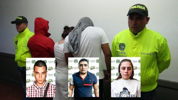 Estos fueron los tres presuntos integrantes de la banda delincuencial capturados por la Policía Metropolitana de Popayán: Andrés Felipe Barrios Pulido, alias 'Barrios'; Luis Fernando Díaz Navarro, alias 'Mole' y Yeraldin Narváez Sánchez, alias 'Yera'.
