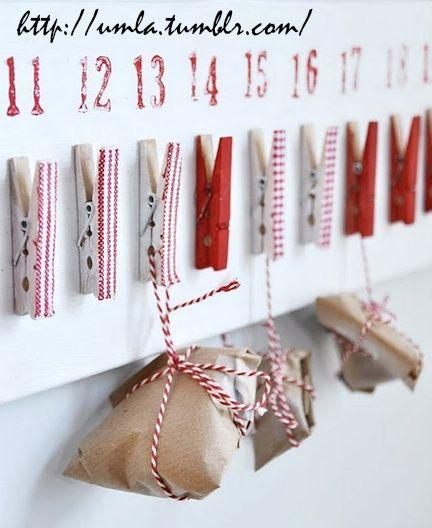 Calendario de adviento hecho con pinzas #christmas #manualidades