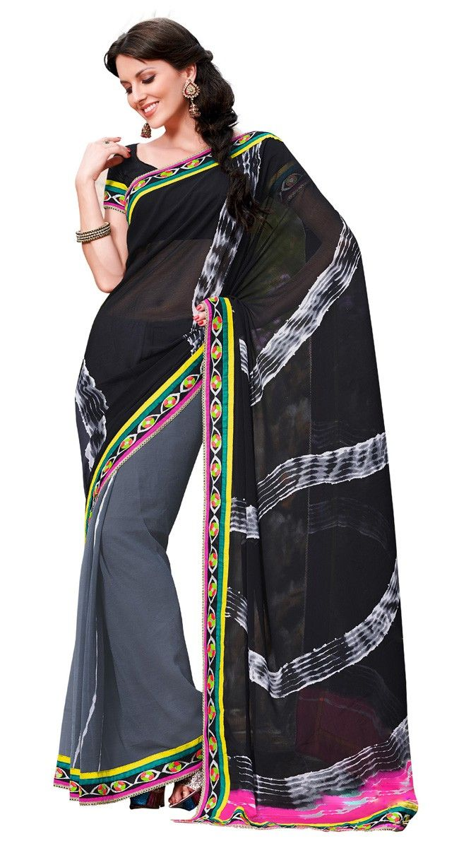 Effective Black Color Chiffon Printed #Saree