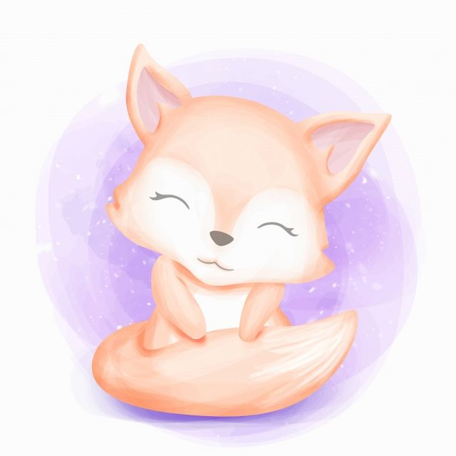 Cute Baby Fox Sit And Smile Adorable Animal Art Png And Vector With Transparent Background For Free Download Gatinho Desenho Raposas Bebe Desenhos Kawaii