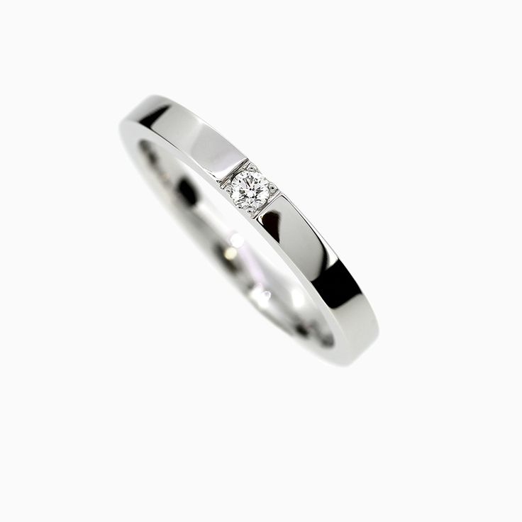 Caress Ring with Diamond in White Gold