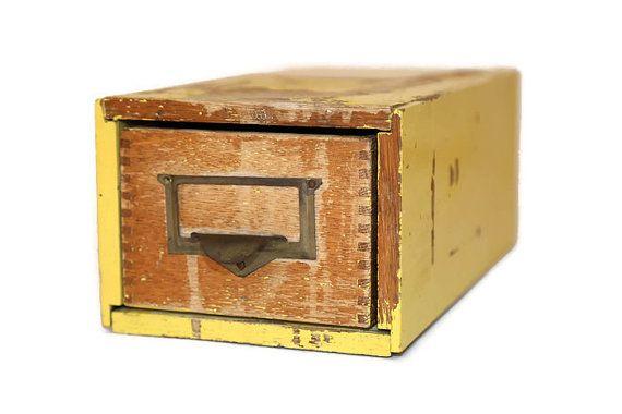 Card File Cabinet, Wood Drawer Card File Cabinet, Wood File Cabinet, Oak File Cabinet, Single Drawer #etsy #vintage #EtsyGifts