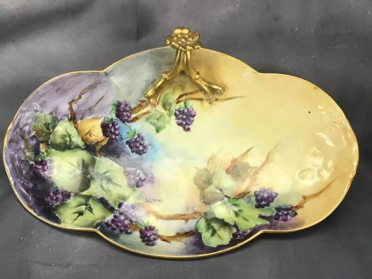 HP Artist Signed William Guerin (WG&Co) Limoges Blackberries & Gold Glove Tray