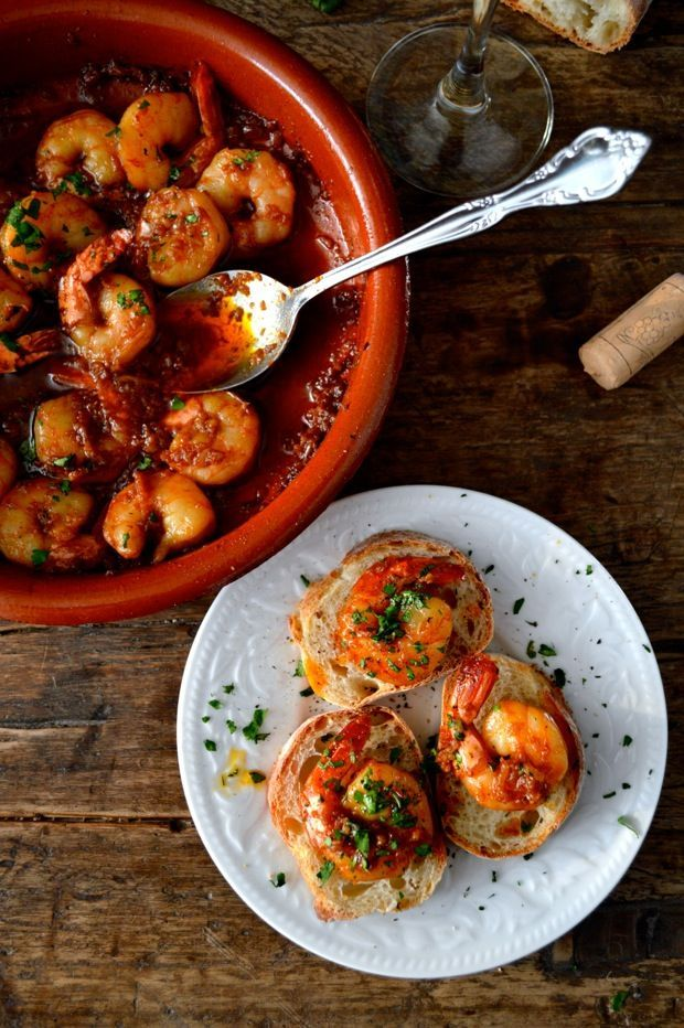 Garlicky Shrimp Tapas - Gambas al Ajillo, made in the style of Basque Pinchos, or Pinxtos (on bread!) - an awesome, elegant appetizer inspired by Spanish Cuisine. [The Woks of Life]