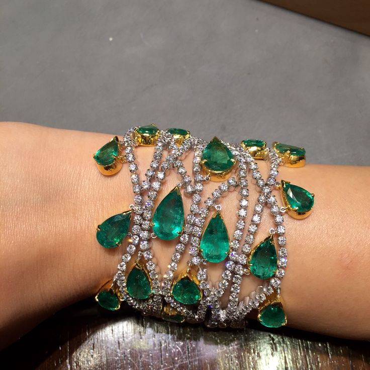 Zambian emerald and diamond bracelet. A very impressive and magnificent piece from Jewels by Rakesh Khanna.